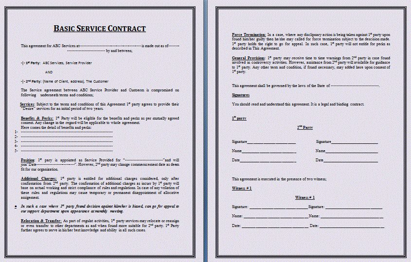 Basic Services Contract Service Contract Template, Free Printable - service contract form