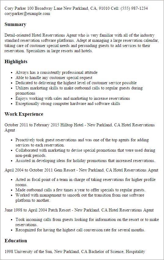 Hotel Reservations Agent Sample Resume Professional Hotel