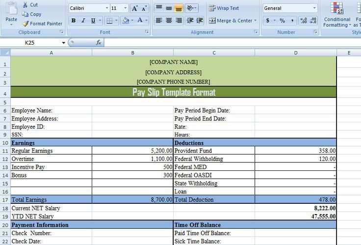 Format Of A Payslip Payslip Format Word And Excel Formats - payroll slip template excel