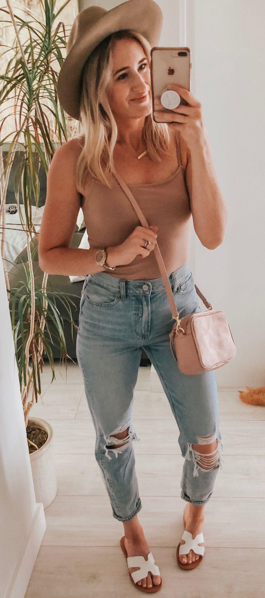 blue denim pants #summer #outfits