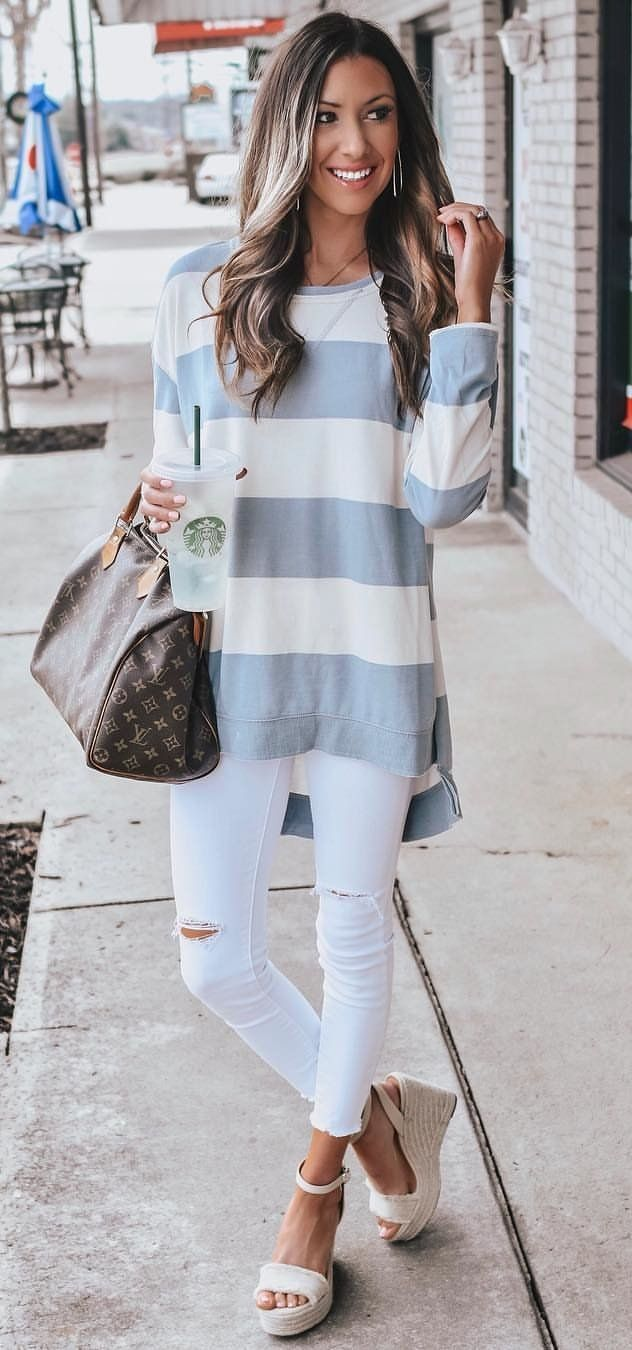gray and white striped long-sleeved shirt #spring #outfits