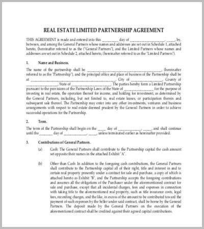 Real Estate Contract Template 7 Real Estate Contract Templates - real estate partnership agreement