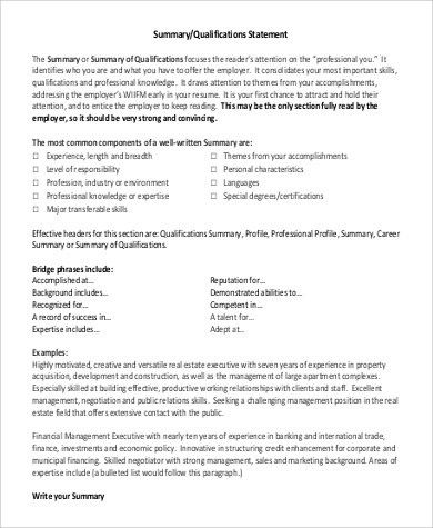 resume summary section examples resume summary statement example