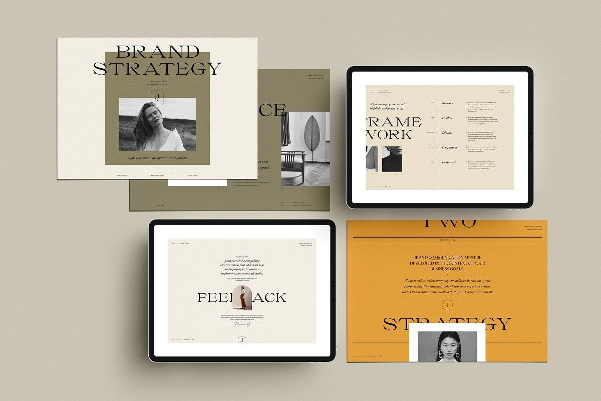 The Brand Strategy set is a series of 21 fully customizable design templates for Adobe Photoshop and/or Adobe Indesign.
