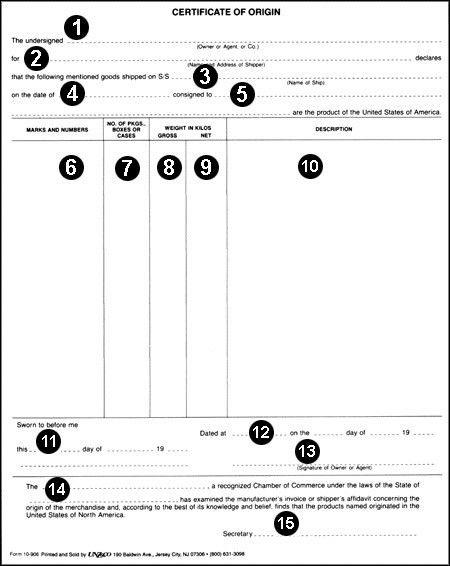 Us Certificate Of Origin Form Formal Certificate Of Origin - certificate of origin template