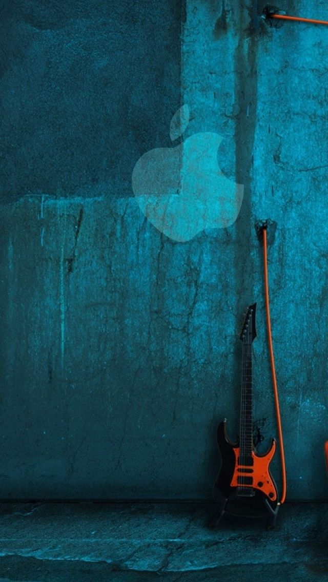 ↑↑TAP AND GET THE FREE APP! Art Creative Anime Guitar Apple Logo Blue HD iPhone Wallpaper