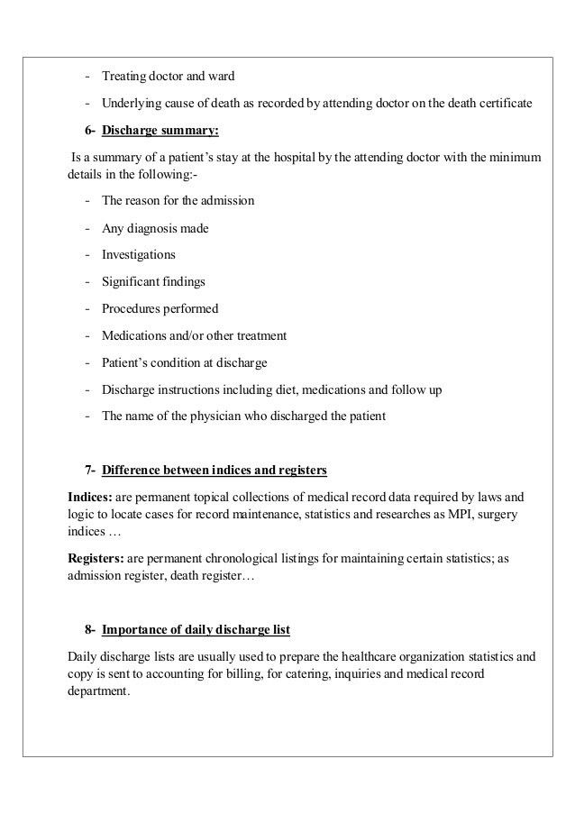 Medical Summary Template  HayitElcuervoazulCom
