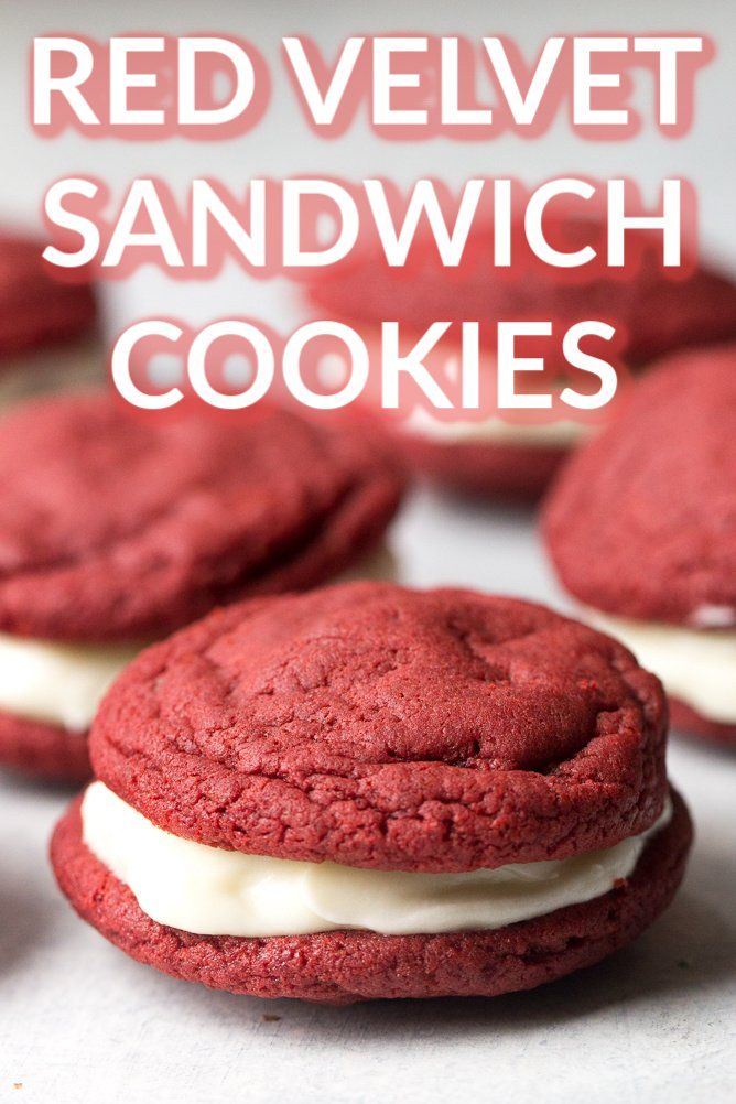 Red Velvet Sandwich Cookies from SixSistersStuff.com