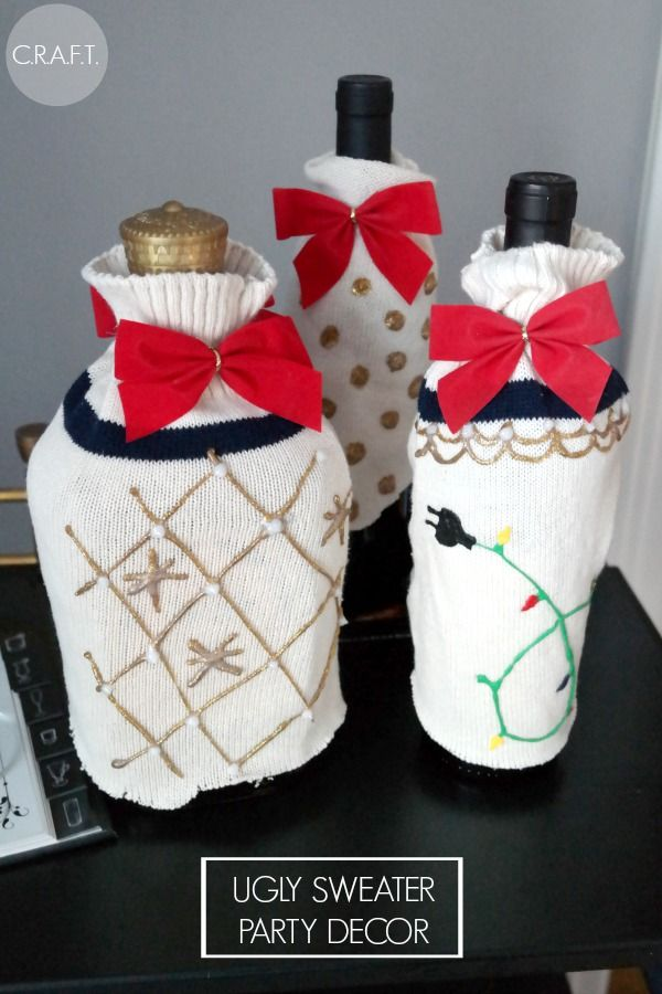 DIY Ugly Christmas sweaters for wine bottles! – C.R.A.F.T. #uglysweaterparty