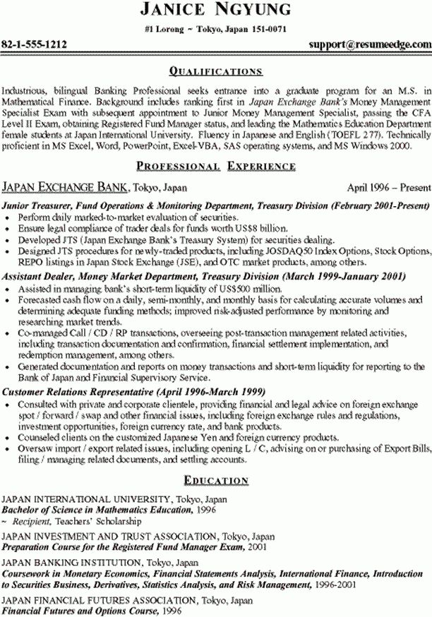 How To Write A Resume For Graduate School Sample Resume For