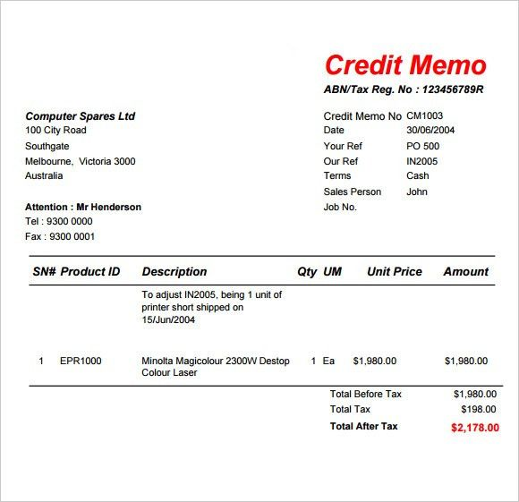 Sample Credit Memo Template   6+ Free Documents Download In PDF, Word Intended For Credit Note Letter