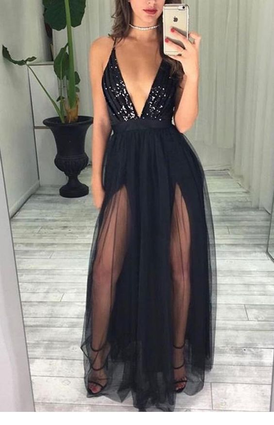 Black dress with glitter and tulle