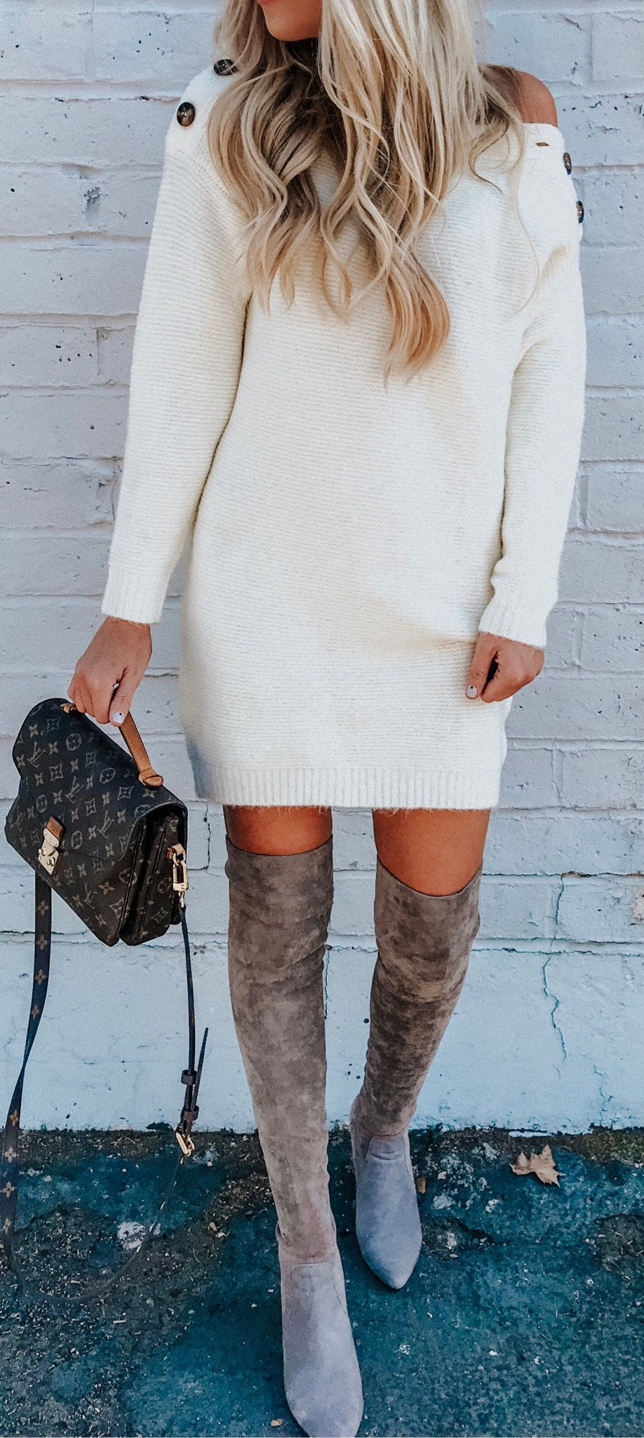 white knit sweater dress