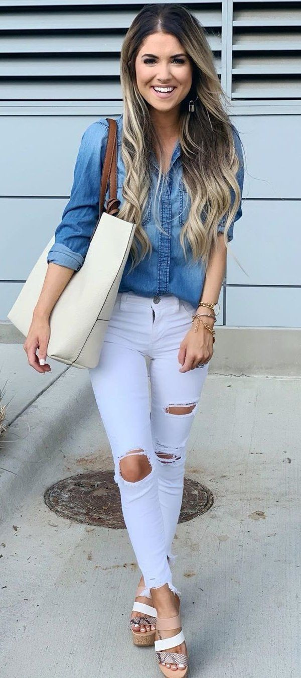 blue distress jeans #summer #outfits