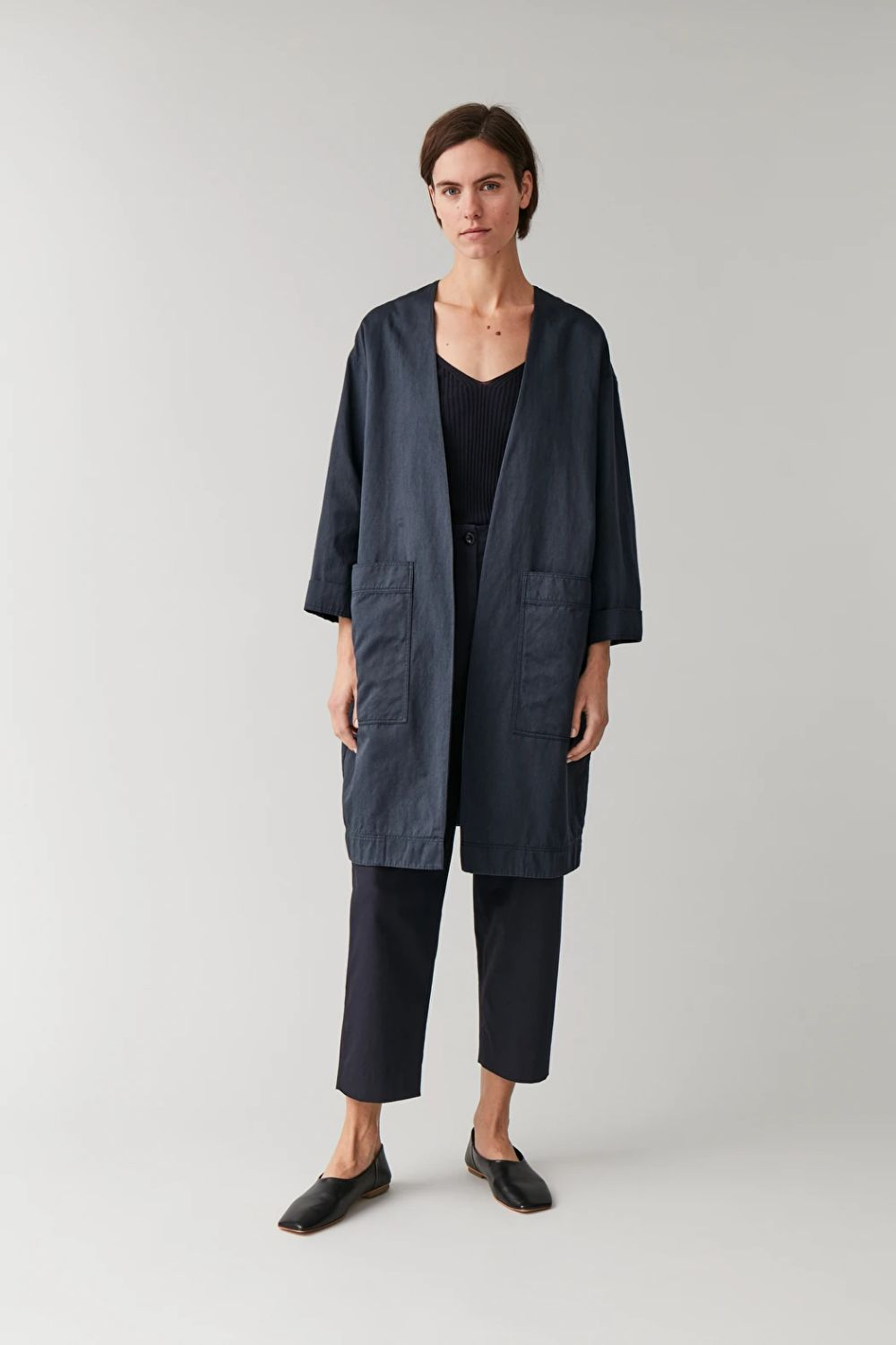 COTTON-LINEN JACKET WITH DRAPED FRONT - blue - Coats and Jackets - COS DE