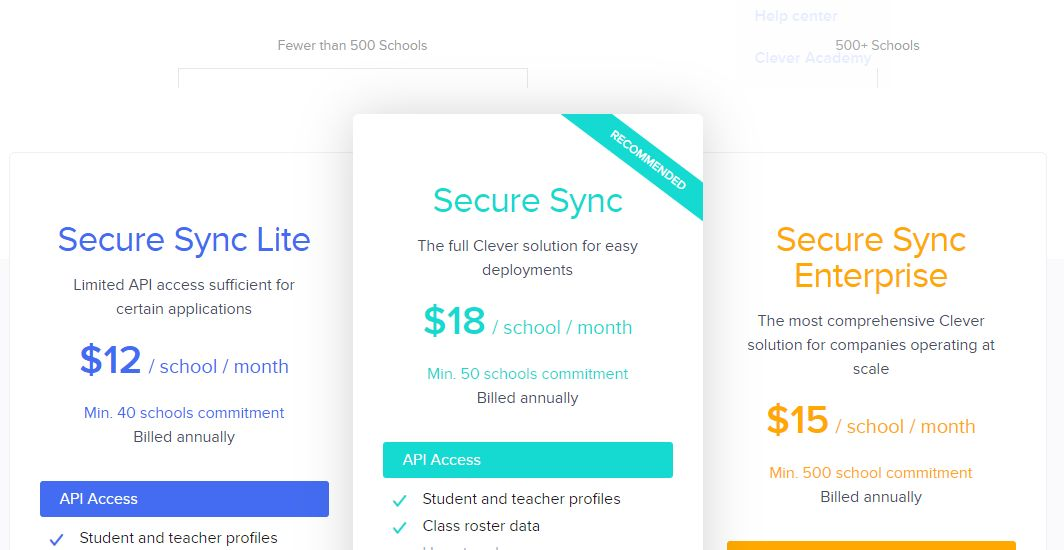 clever single sign-on pricing plans for student, teachers, and schools