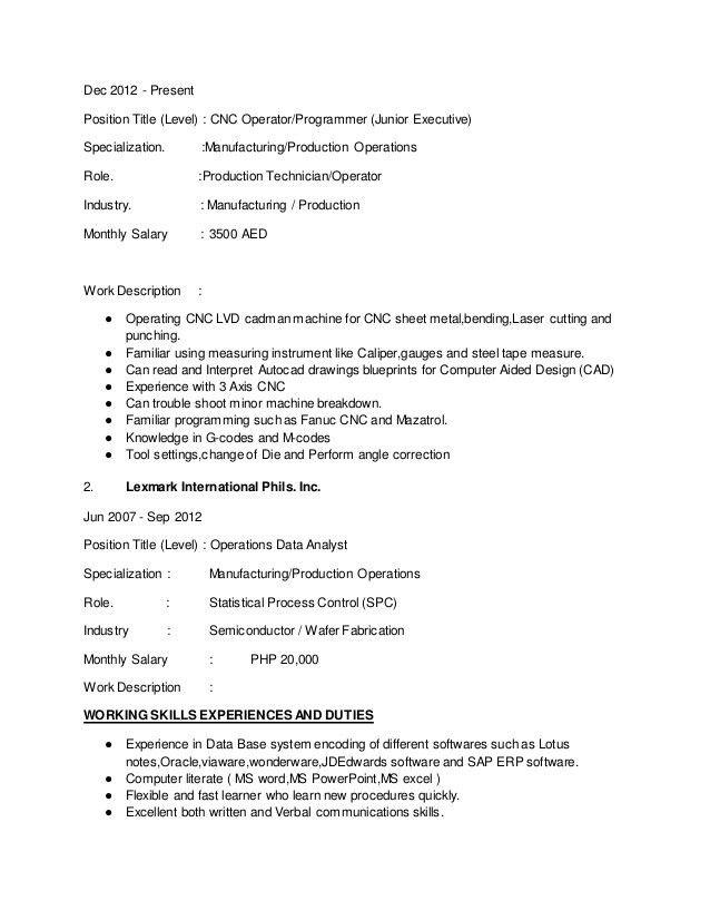 production operator resume