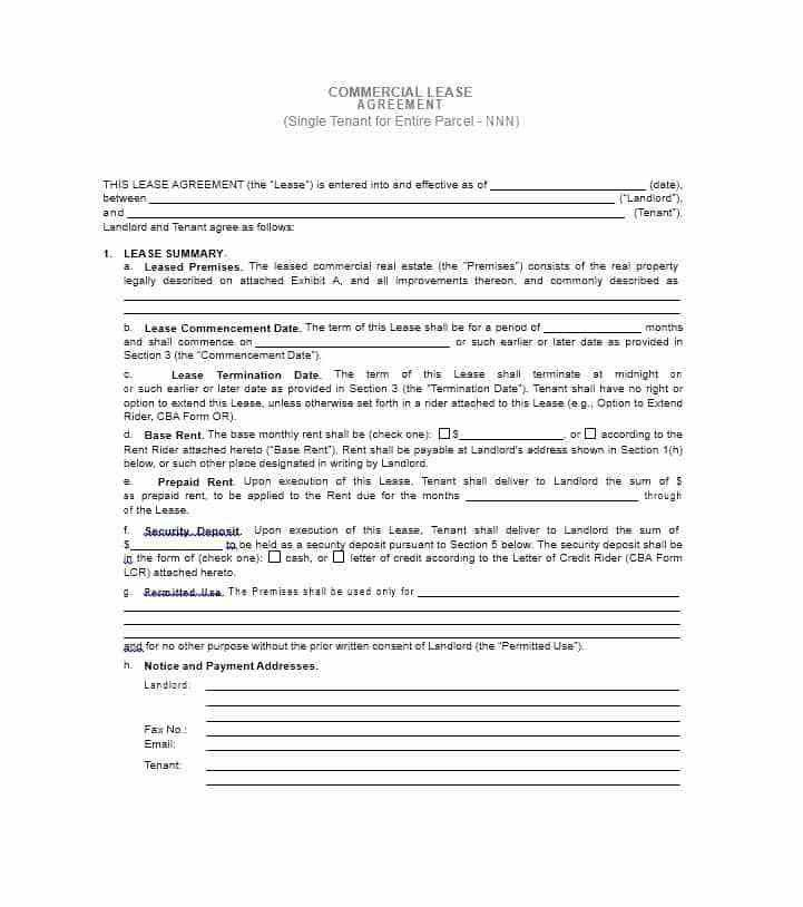 Simple Commercial Lease Agreement Template Free Simple Commercial - blank lease agreements
