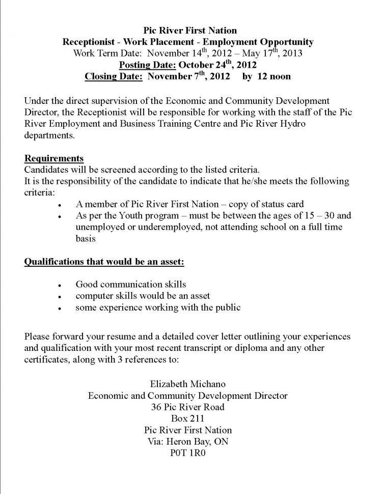 resume objectives for receptionist