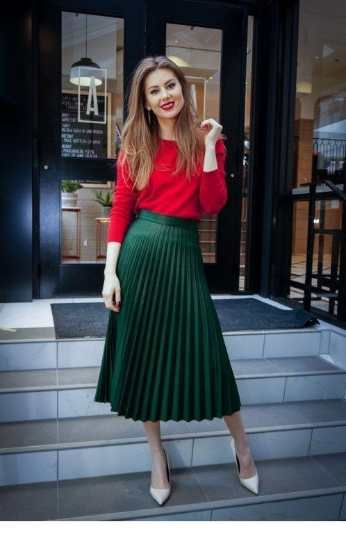 Cute red blouse and green skirt