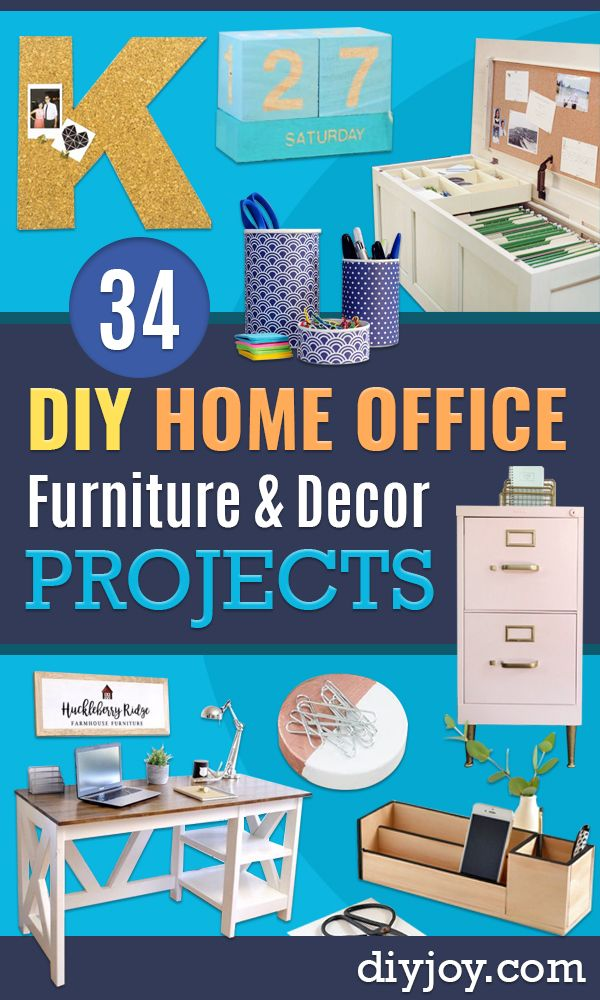 DIY Office Furniture - Do It Yourself Home Office Furniture Ideas - Desk Projects, Thrift Store Makeovers, Chairs, Office File Cabinets and Organization - Shelving, Bulletin Boards, Wall Art for Offices and Creative Work Spaces in Your House - Tables, Armchairs, Desk Accessories and Easy Desks To Make On A Budget #diyoffice #diyfurniture #diy #diyhomedecor #diyideas