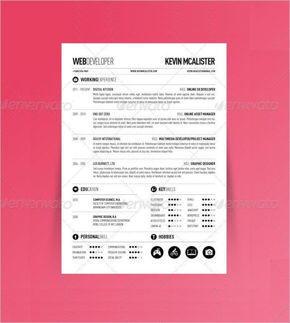 Resume Page Format Two Page Resume Template Resume Template - one page resumes examples
