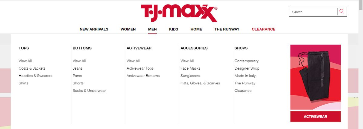 T.J. Maxx Online man Brands