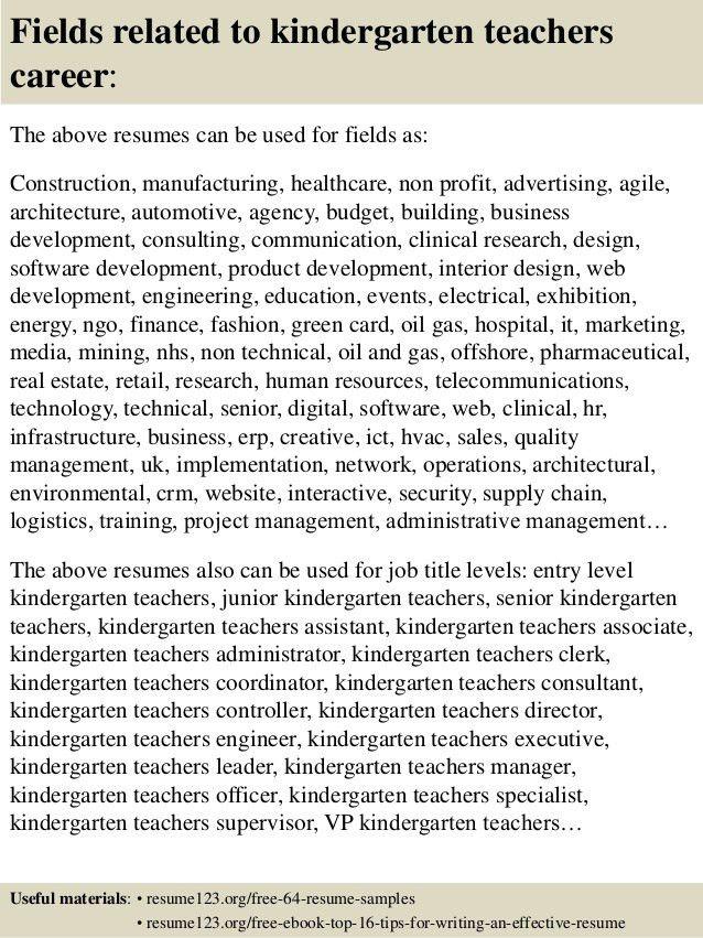 Sample Kindergarten Teacher Resume Kindergarten Teacher Resume