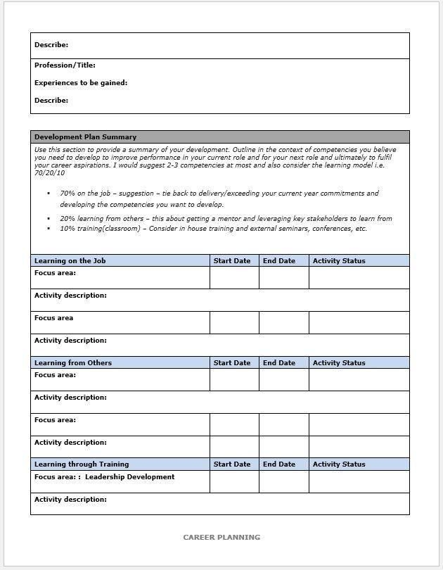 Personal Career Development Plan Template Developing A Plan Of - career progression plan template