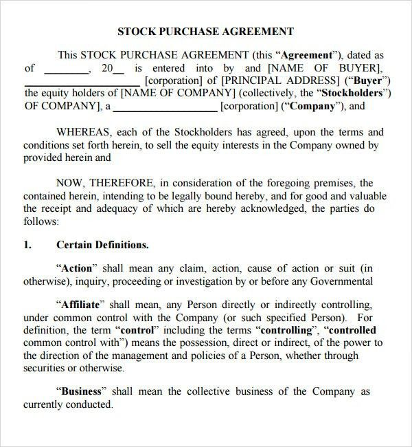 Simple Investment Contract Investment Contract Template Contract - stock purchase agreement