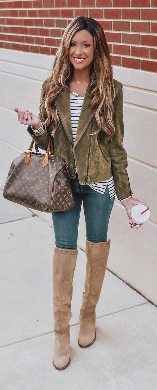 brown leather knee-high booties