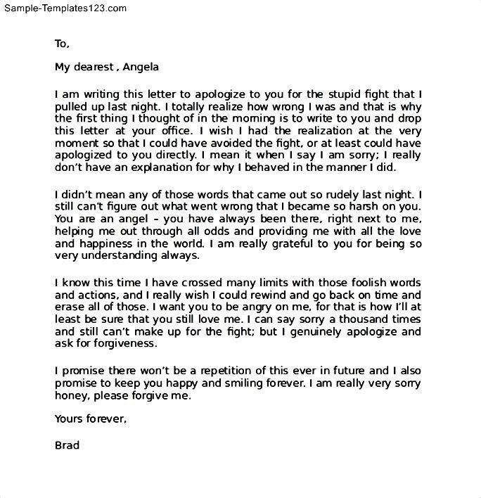 Apology Letter Sample Apology Letter Template Aplg - apology love letter