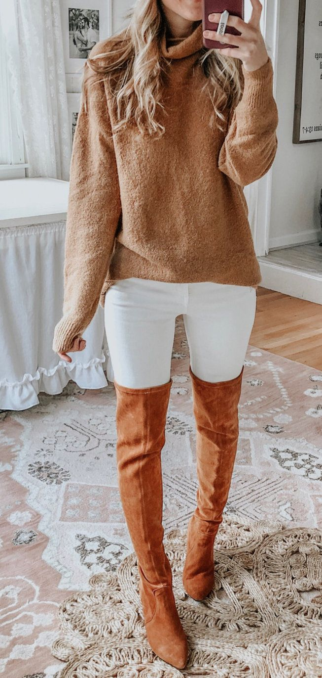 white and brown pants #winter #outfits