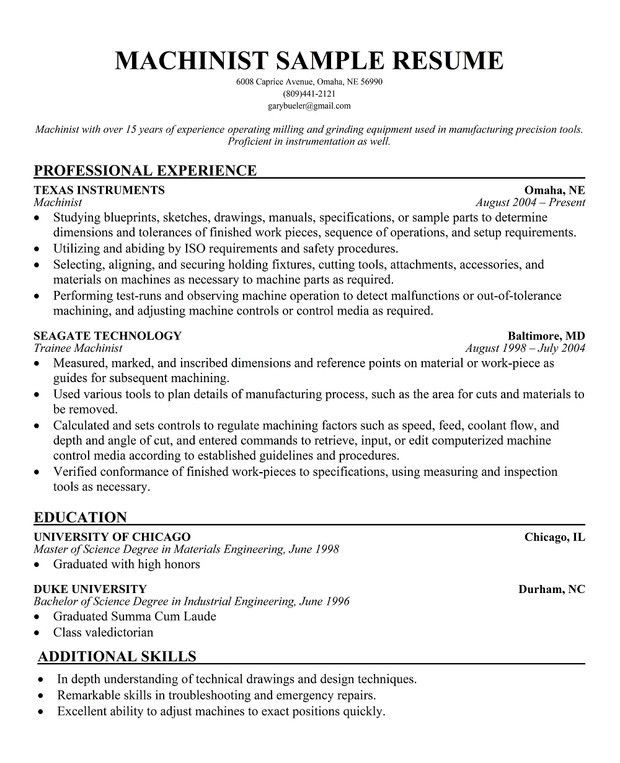 machinist resume examples examples of resumes - Machinist Resume Sample