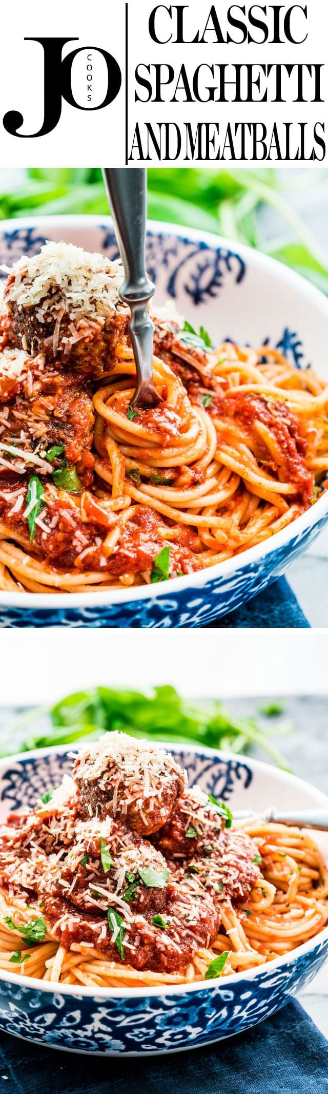 Classic Spaghetti and Meatballs - a classic comfort food and pretty much everyone's favorite. This dish with delicious and hearty meatballs in a simple flavorful and tasty tomato sauce served over spaghetti. www.jocooks.com #spaghetti