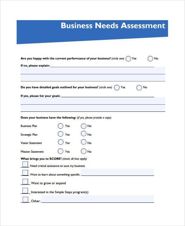 Business Needs Assessment Template Needs Assessment Template - sample needs analysis