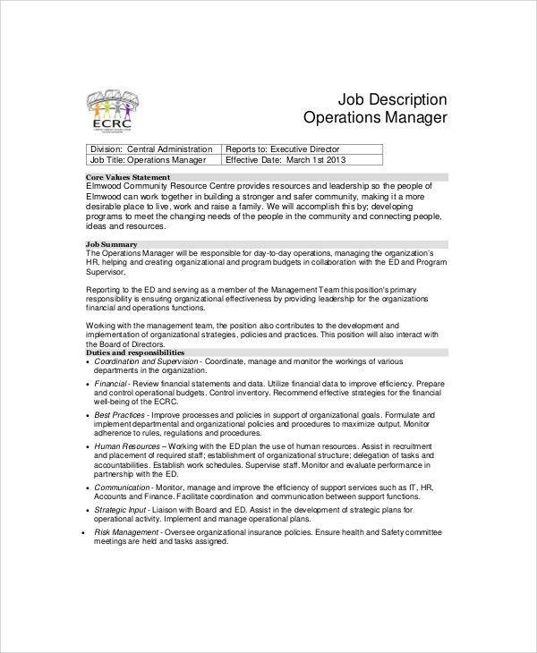 ... Operation Supervisor Job Description Operations Supervisor   Operations  Manager Job Description ...