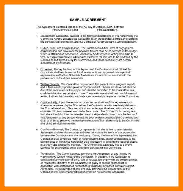 Sample Contract Agreement Independent Contractor Agreement - sample independent contractor agreement