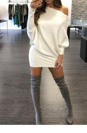 White sweater dress and grey high boots