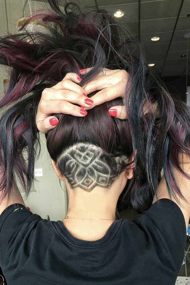 Mandala Hair Tattoo #longhair #hairtatoo ★ An undercut for women is a great way to upgrade their look no matter whether they prefer long hair or short haircuts. It's extremely versatile and has a multitude of design options, from simple side cuts to hidden nape shaved hairstyles, the trendiest of which you can find here.  #glaminati #lifestyle  #undercutwomen