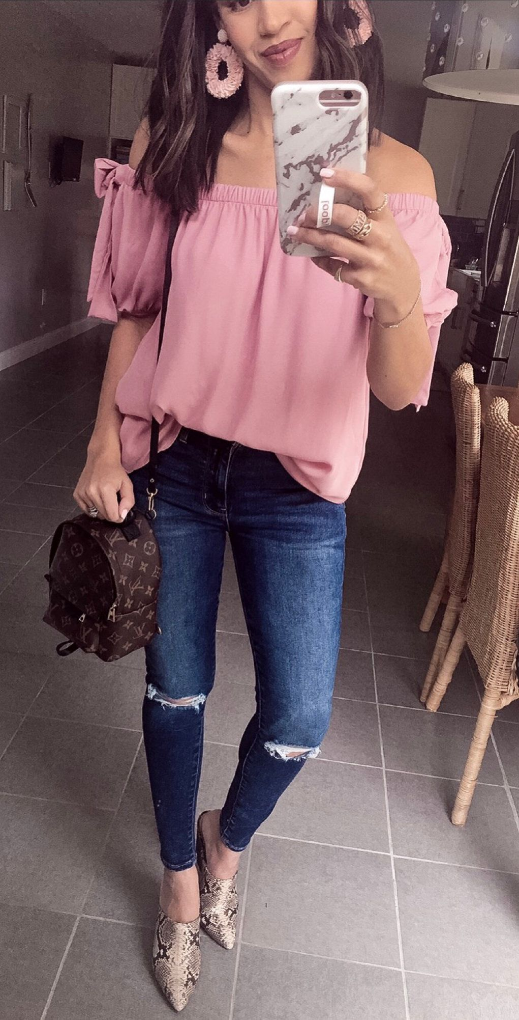 pink off-shoulder dress and blue jeans #spring #outfits