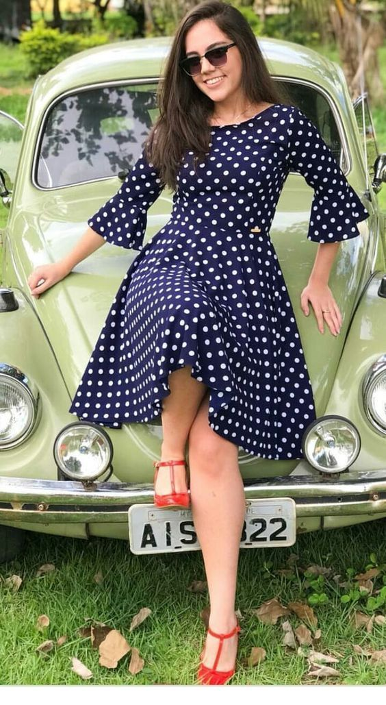 Sweet polka dot dress with red shoes