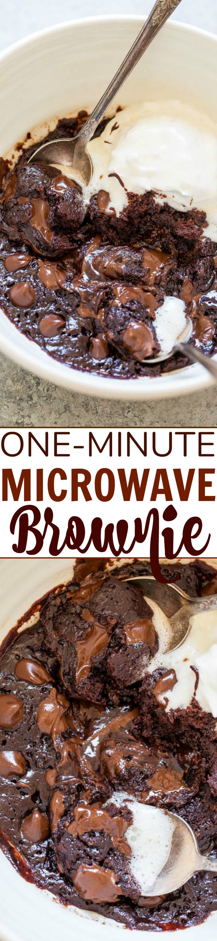 One-Minute Microwave Brownie — When chocolate cravings strike, make this EASY brownie recipe in one bowl, without a mixer, and it's ready in ONE MINUTE!! Rich, FUDGY, decadent, and accidentally vegan!! (no dairy, no butter, no eggs!)
