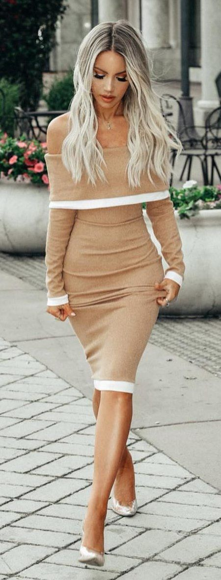 brown off-shoulder long-sleeved dress #spring #outfits