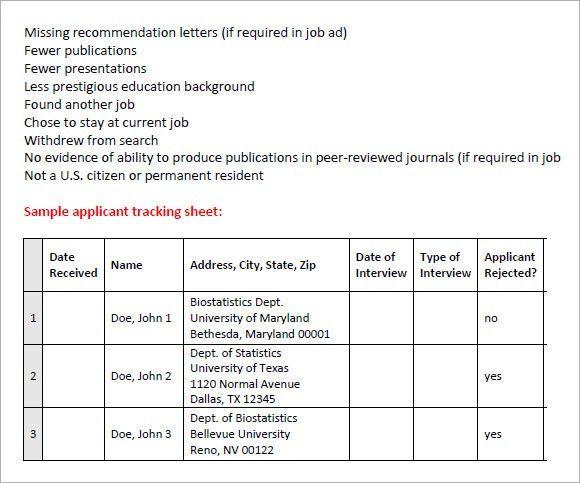 recruiting tracking spreadsheet
