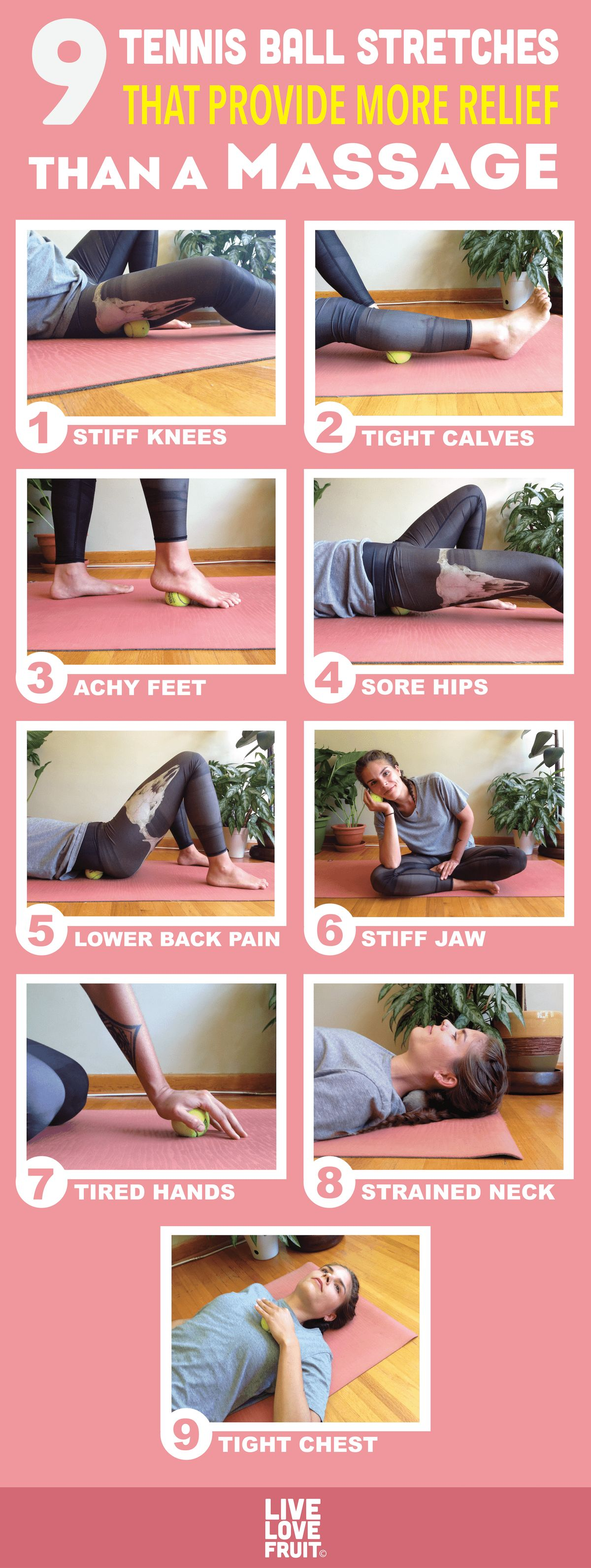 Hit the same trigger points that your massage therapist would with these 9 tennis ball stretches. They provide relief for pain all over the body.  via @livelovefruit