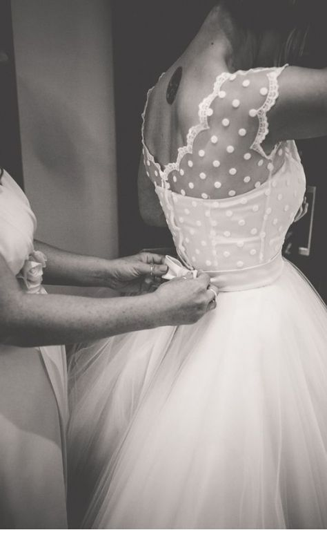Wedding dress with polka dots