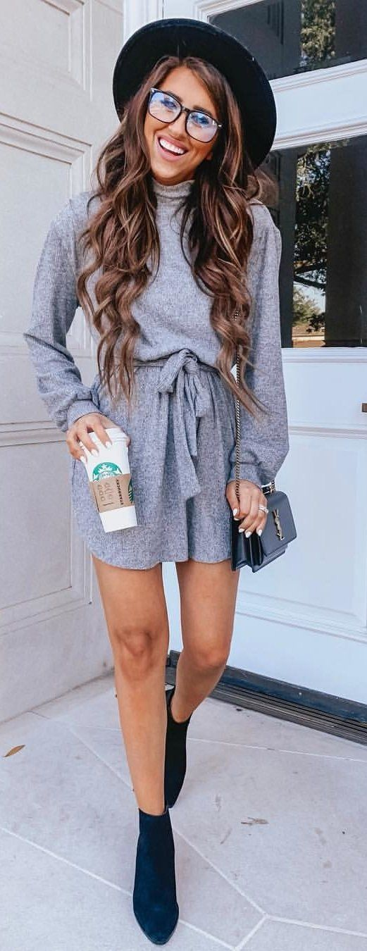 gray long sleeve dress #winter #outfits