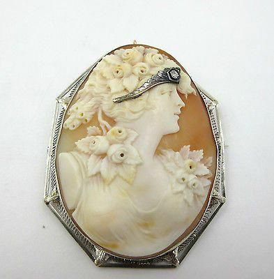 "1920's XLarge 14K White Gold Shell Cameo of Flora Diamond Habille Brooch Pendant <a class=""pintag"" href=""/explore/diamondbrooches/"" title=""#diamondbrooches explore Pinterest"">#diamondbrooches</a><p><a href=""http://www.homeinteriordesign.org/2018/02/short-guide-to-interior-decoration.html"">Short guide to interior decoration</a></p>"