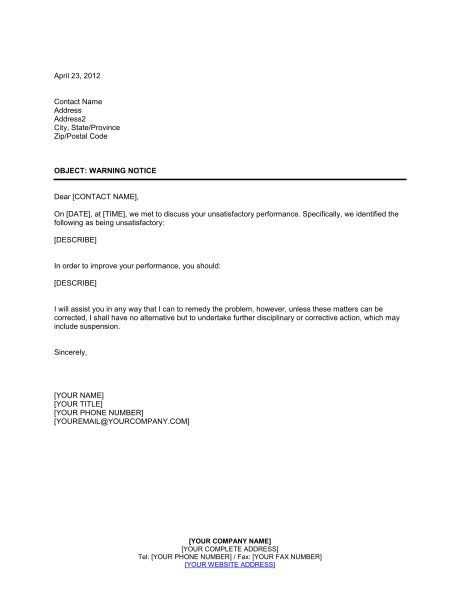 Warning Notice Template Warning Notice Template 7 Free Word Pdf - sample final notice letter